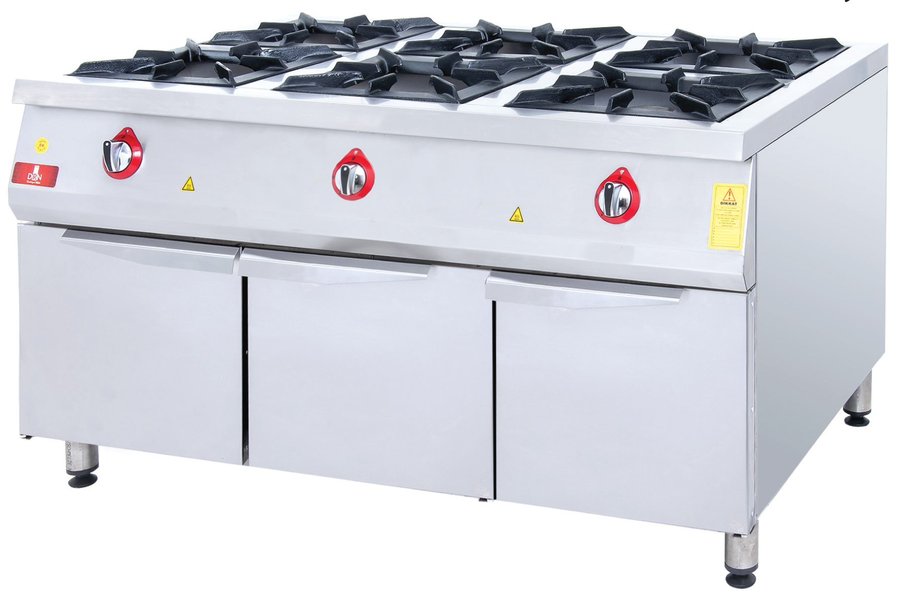 Range and Cabinet - 6 Burners - 150x100 - Gas