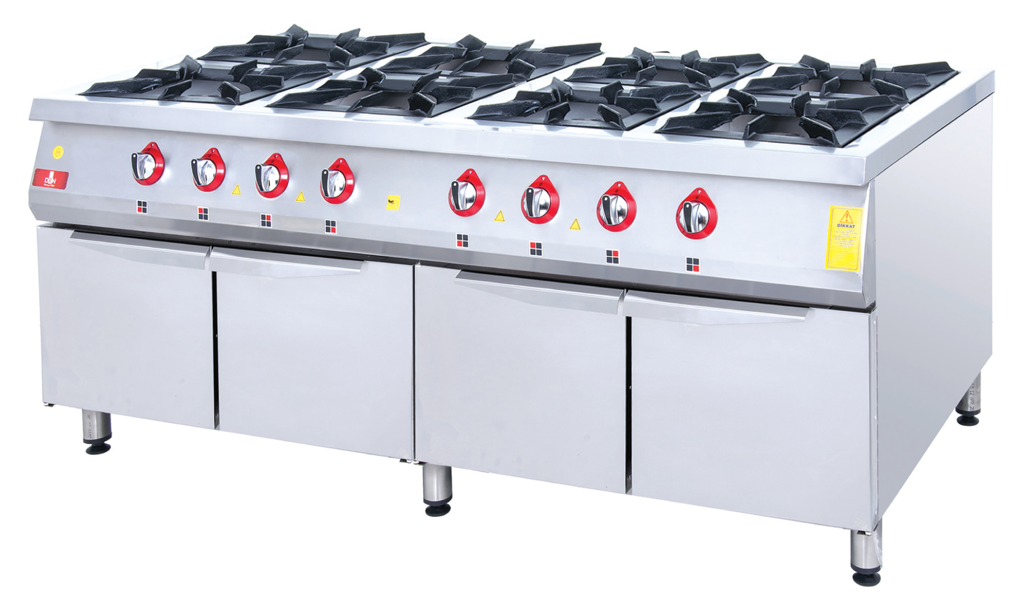 Range and Cabinet - 8 Burners - 200x100 - Gas
