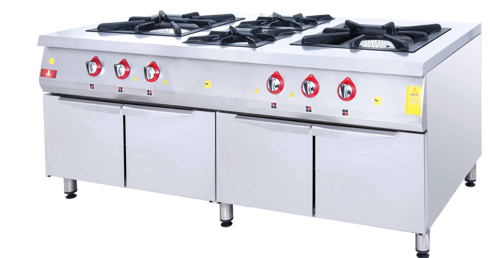 Range and Cabinet - 6 Burners - 200x100 - Gas
