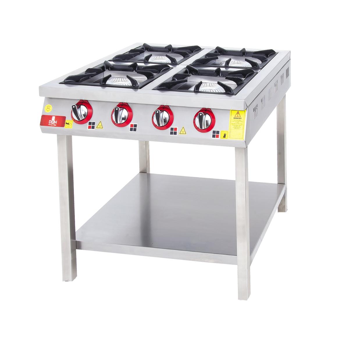 Range and Bottom-Shelf - 4 Burners - 80x80 - Gas