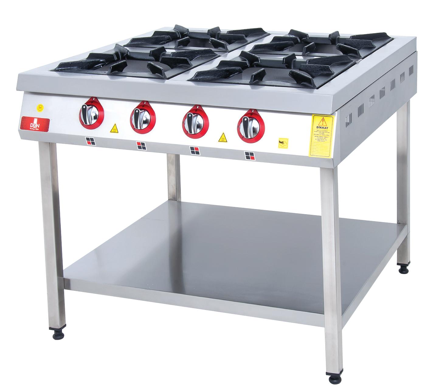 Range and Bottom-Shelf - 4 Burners - 100x100 - Gas