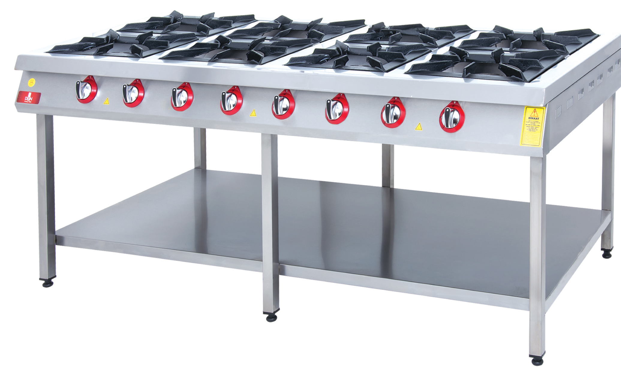Range and Bottom-Shelf - 8 Burners - 200x100 - Gas