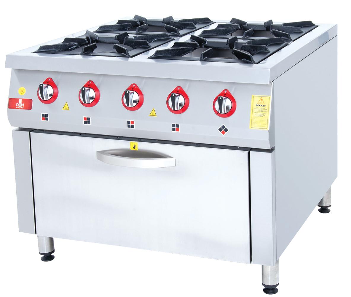 Range and Oven - 4 Burners - 100x100 - Gas