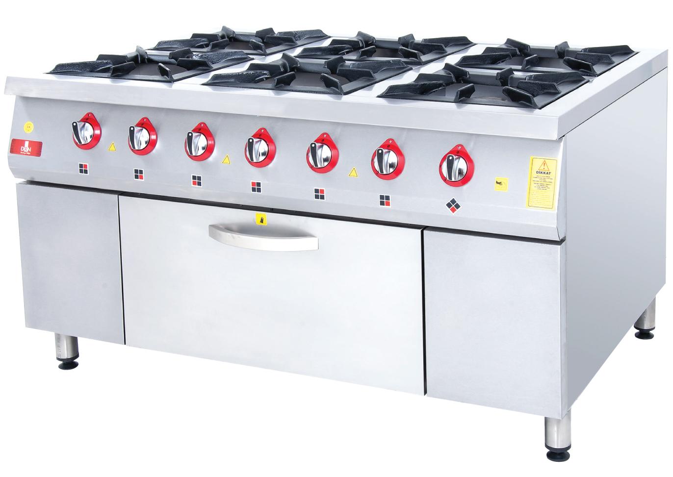 Range and Oven - 6 Burners - 150x100 - Gas