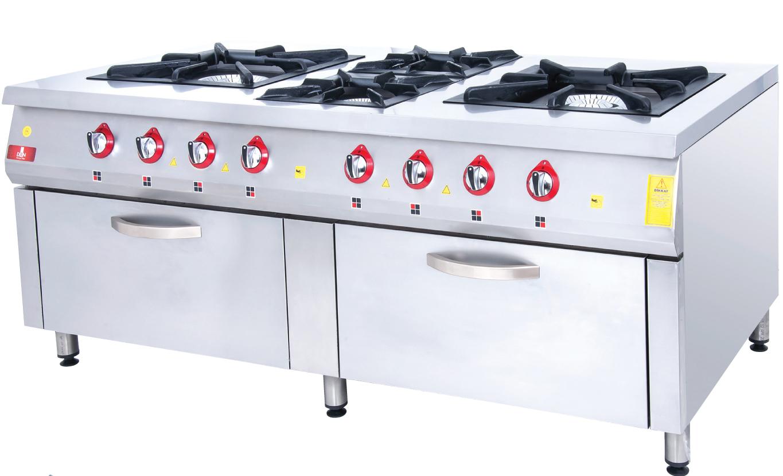 Range and Oven - 6 Burners - 200x100 - Gas