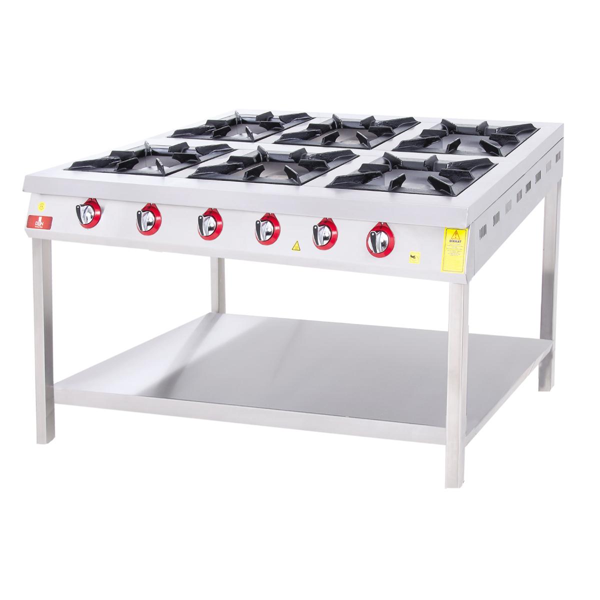 Range and Bottom-Shelf - 6 Burners - 130x80 - Gas
