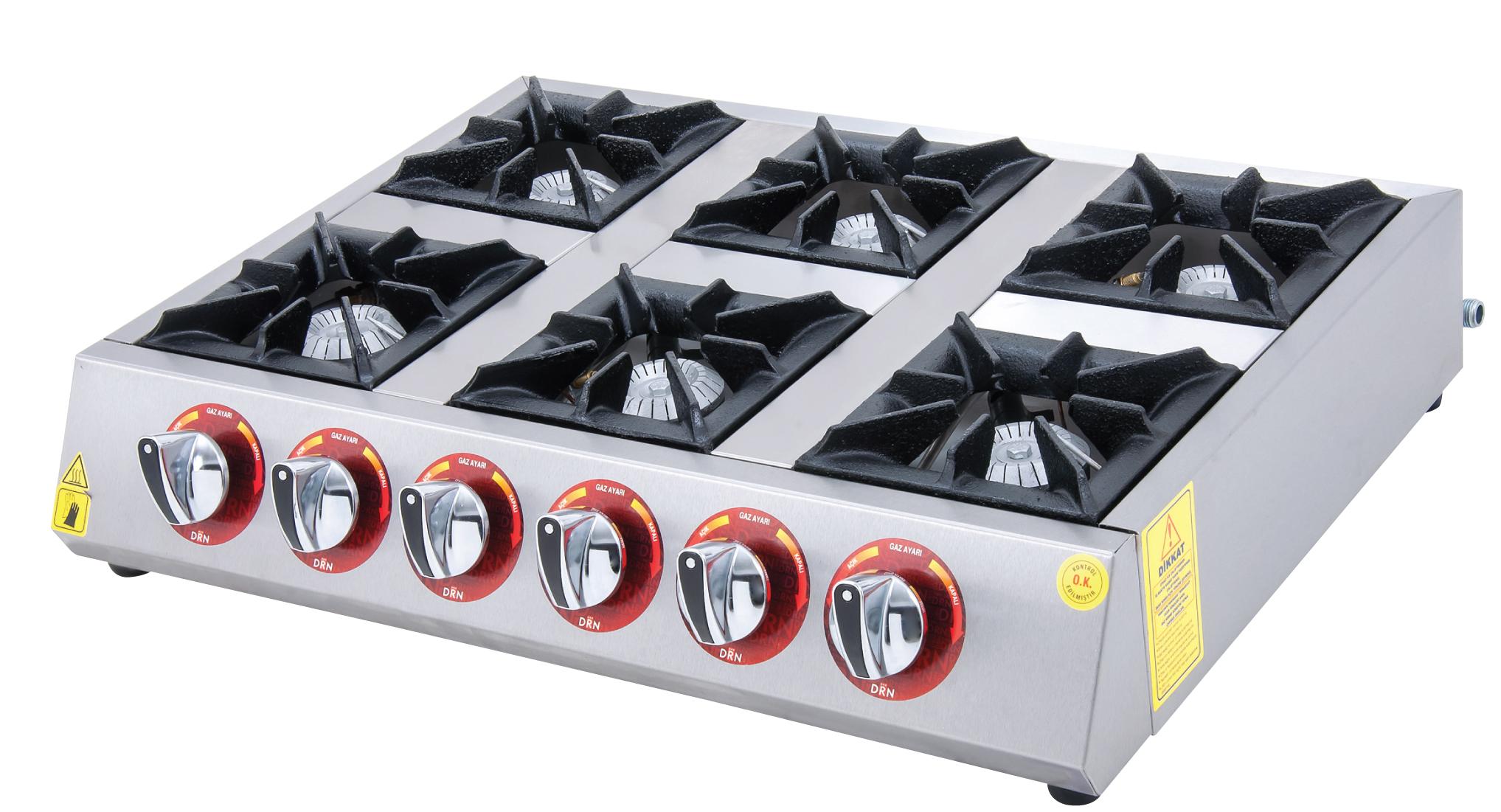 Mini Cooktop - 6 Burners - 75x50 - Gas